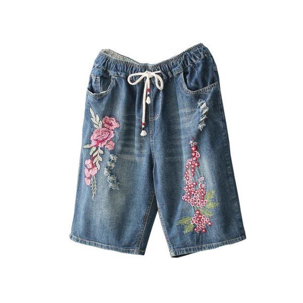 復古民族風破洞刺繡花牛仔五分褲女夏季寬鬆加大碼鬆緊腰牛仔中褲