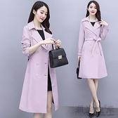 風衣女中長款年新款秋季女裝英倫風雙排扣流行外套女韓版寬鬆