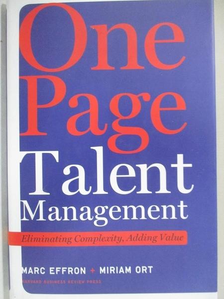 【書寶二手書T1/傳記_I5I】One Page Talent Management: Eliminating Complexity…