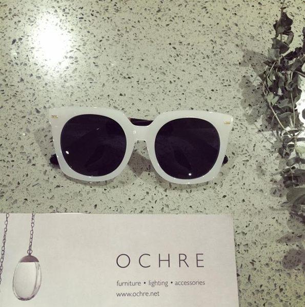[超豐國際]林姍姍同款白色大框方形墨鏡百搭防曬太陽眼鏡防紫外1入