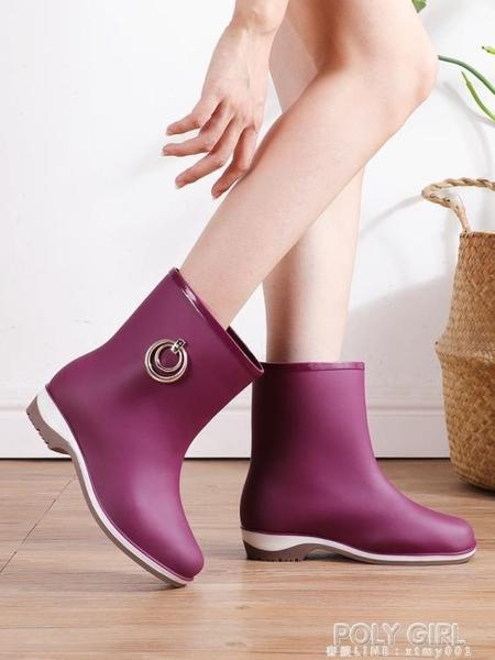 雨鞋女時尚款外穿防滑水鞋成人學生防水套鞋短筒女士膠鞋中筒雨靴 poly girl