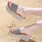 增高涼鞋 涼拖鞋女夏外穿新款時尚厚底楔形厚底拖鞋增高百搭半拖女涼鞋-Ballet朵朵