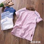 男童短袖T恤夏裝薄款寶寶竹節棉打底衫上衣童裝兒童純棉半袖t恤衫 『蜜桃時尚』