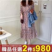 任選2件980連身裙溫柔花色收腰顯瘦系帶中長版雪紡連身裙【08G-M1573】