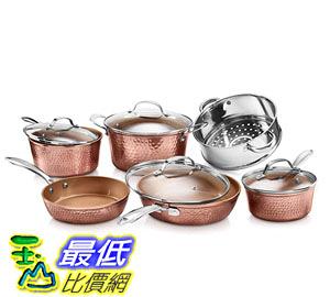 [8美國直購] 陶瓷不沾鍋 廚具套裝 Gotham Steel Hammered Collection 10 Piece Premium Cookware Set B07MSK8QCH