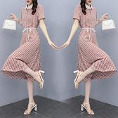 洋裝 中年媽媽裙子夏季修身顯瘦氣質名媛娃娃領系帶印花雪紡連身裙N118韓衣裳
