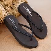 促銷全場九折 中跟水磚人字拖鞋 夏季女士防滑沙灘涼拖厚底坡跟時尚夾拖