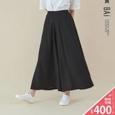 寬褲 純色磨紗雪紡側鬆緊大寬管褲裙-BAi白媽媽【307016】