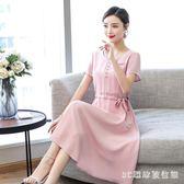 媽媽洋裝大尺碼中老年女裝顯瘦夏裝30到45歲棉綢中長款連身裙PH1269【3c環球位數館】