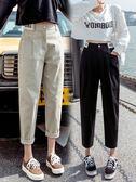 休閒褲子女新款寬鬆顯瘦百搭蘿卜哈倫褲春秋工裝七分九分韓版 「快速出貨」
