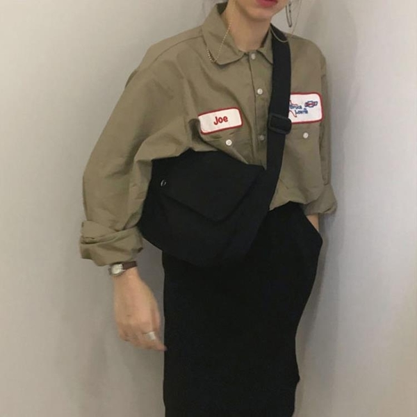 韓國ins新款百搭純色半圓簡約側背斜背帆布包男女書包肩帶可調節 快意購物網