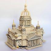 木質3d立體拼圖玩具成人模型拼裝高難度積木頭組裝古建筑大型城堡 鹿角巷