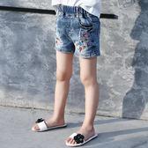 童裝女童2019新款夏裝牛仔短褲兒童刺繡鬆緊腰碎花女寶寶潮流熱褲
