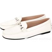 TOD'S Double T 金屬設計豆豆樂褔鞋(女鞋/白色) 1740462-20