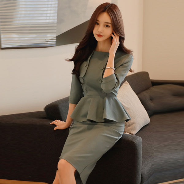 OL洋裝 秋裝女韓版氣質修身圓領拼接荷葉邊雙排扣包臀連身裙子  店慶降價