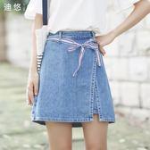 2018夏季新款韓版綁帶牛仔半身裙百搭學生