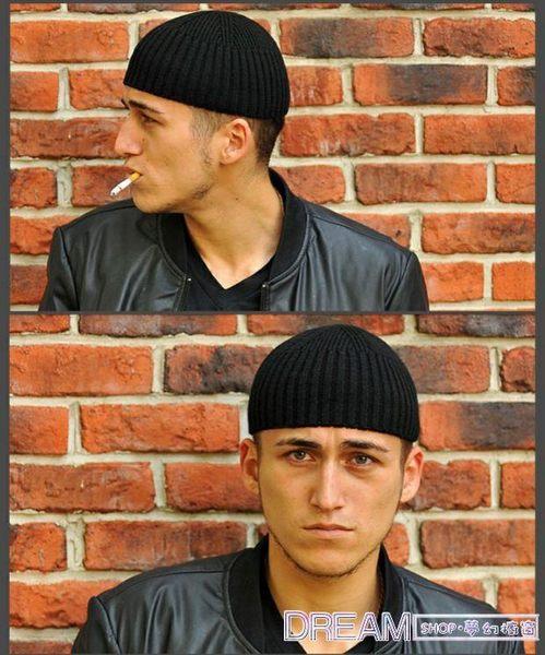 短款針織帽齊耳戶外瓜皮帽黑色男士純爺們翻檐春秋薄款毛線帽 夢幻櫥窗