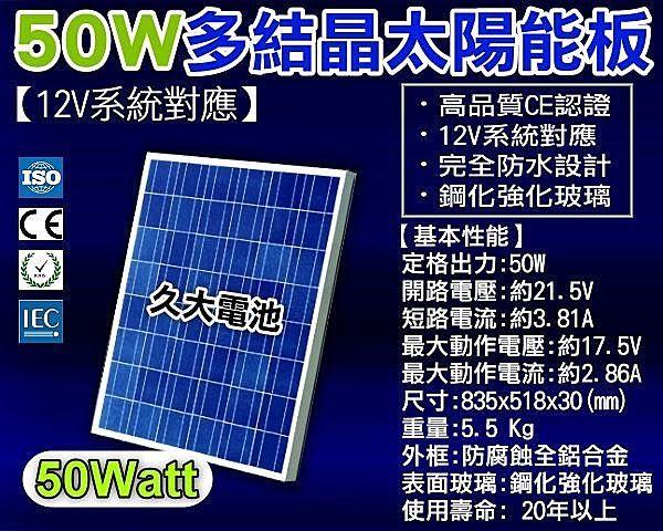 ✚久大電池❚ 太陽能 12V 50W 多結晶 太陽能板 CE ISO ROHS IEC 國際認證 (超高品質.節電省錢)