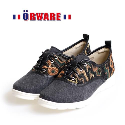 ORWARE-針織圖騰混搭布休閒鞋 /女款652057-02(黑)