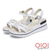 楔型涼鞋 線條美型真皮楔型涼鞋(白)*0101shoes【18-A3535w】【現+預】