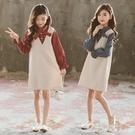 洋裝女童連身裙春秋新款韓版中大兒童假兩件時髦洋氣長袖公主裙潮 快速出貨