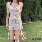 法式性感碎花吊帶裙子蕾絲復古短裙魚尾連身裙【毒家貨源】
