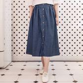 Poly Lulu 蕾絲拼接假兩件式薄牛仔長裙-藍【95070042】