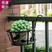 花架 真秦漢鐵藝多層護欄陽台欄桿懸掛花架多肉綠蘿單個花盆架『快速出貨YTL』
