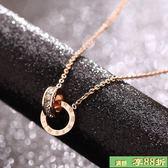 鍍金項鍊 - 禮物韓版時尚氣質羅馬項鍊 女款鍍玫瑰金彩金鎖骨鍊短鍊飾品禮物 最後一天8折