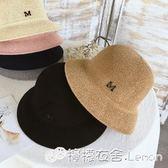 正韓春夏氣質棉麻遮陽帽女士編織太陽帽子可摺疊防曬帽盆帽漁夫帽 檸檬衣捨