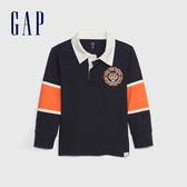 Gap男嬰幼童 刺繡拼布長袖Polo衫 491321-藏青色