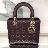■專櫃81折■全新真品■Dior 迪奧 Lady Dior 20 cm 黛妃包 紅莧紫色