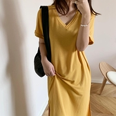 淡黃色連衣裙女開叉夏季純色v領短袖過膝懶人t恤裙潮蛋黃的長裙 蘑菇街