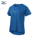 MIZUNO 女裝 上衣 短袖 T恤 路跑 透氣 舒適 吸汗 快乾 反光印花 淺藍 藍【運動世界】J2TA920423