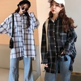 男友風寬鬆長版格子襯衫/長袖襯衫/格紋連身裙 2色【RK67268】