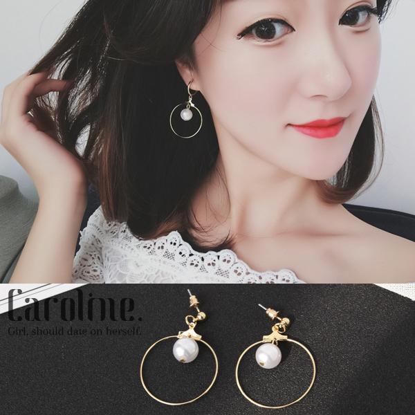 《Caroline》★韓國官網熱賣絕美珍珠氣質百搭獨特設計感風格時尚流行耳環69576