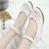 漢服鞋子女古風鞋子新款高跟純白繫帶復古繡花鞋老北京布鞋女 初語生活
