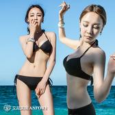 比基尼 泳衣女韓國小香風分體三點式 性感ins黑色三角比基尼鋼托聚攏泳裝