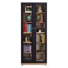 【森可家居】高爾2.7尺橡木紋長玻璃書櫃...