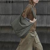 INS斜挎包布袋包女文藝簡約大容量日系學生寬肩帶帆布側背大包包