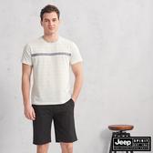 【JEEP】HiCool吸濕排汗條紋短袖TEE(綠色)