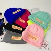 針織帽圓形貼標韓版毛線帽子字母帽保暖女秋冬季【櫻田川島】