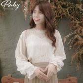 上衣 韓國直送‧透膚桃心領蕾絲長袖上衣-Ruby s 露比午茶