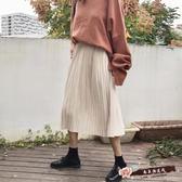 韓國氣質高腰百搭仿鹿皮絨半身裙中長款百褶裙長裙學生潮 「尚美潮流閣」