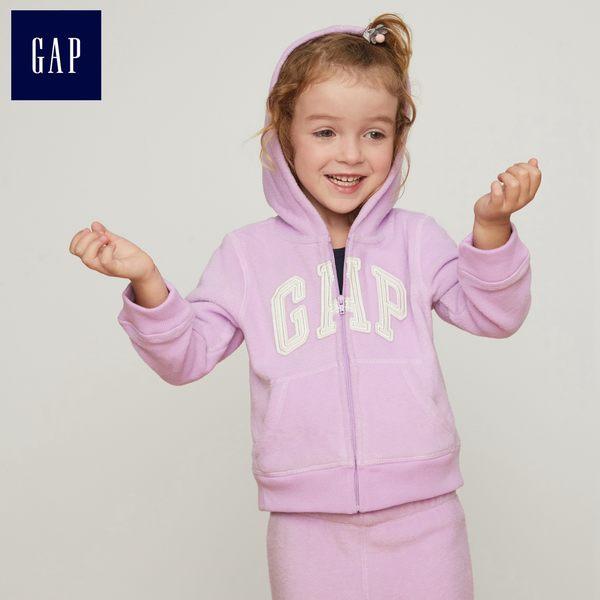 Gap女嬰幼童 Logo柔軟舒適搖粒絨連帽休閒上衣 307658-紫色