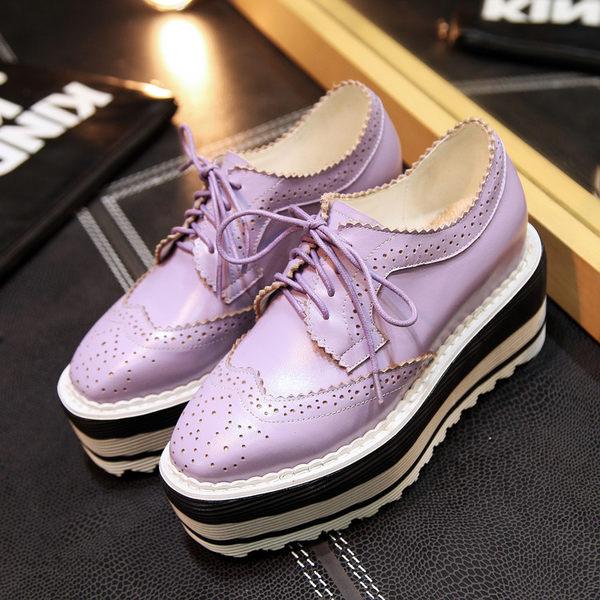 真皮系帶深口單鞋厚底坡跟防水台松糕鞋四季方頭布洛克單鞋   -109246001
