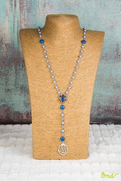 莎洛姆祈願心長型項鍊  (總長約79.5公分,不含吊墜) 施華洛世奇原廠水晶珍珠  淺藍色系 ~ OHMYDOG! ~