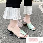 高跟拖鞋 高跟鞋拖鞋女夏外穿韓版休閒外穿軟底涼拖時尚百搭一字拖【萌萌噠】