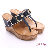 effie 摩登美型 真皮織帶金屬大釦環T字楔型拖鞋  深藍