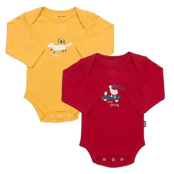 有機 / 長袖包屁 Kite Kids 有機棉長袖包屁衣 / 哈衣 超值2件組 - 紅黃鴨子狐狸 BU898